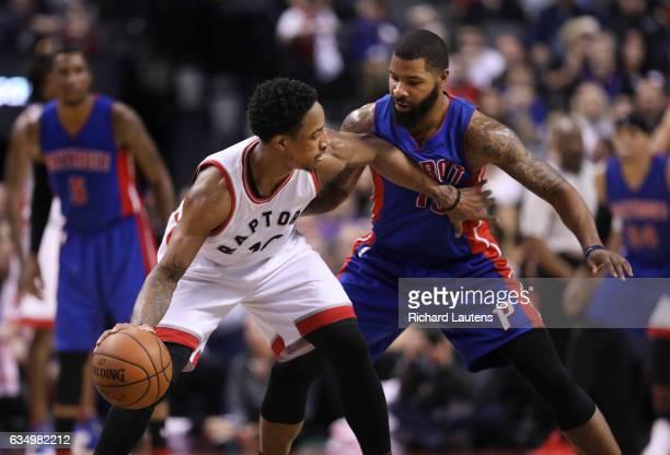 TORONTO ON FEBRUARY 12 In second half action Toronto Raptors guard DeMar DeRozan battles with Detroit Pistons forward Marcus Morris The Toronto...