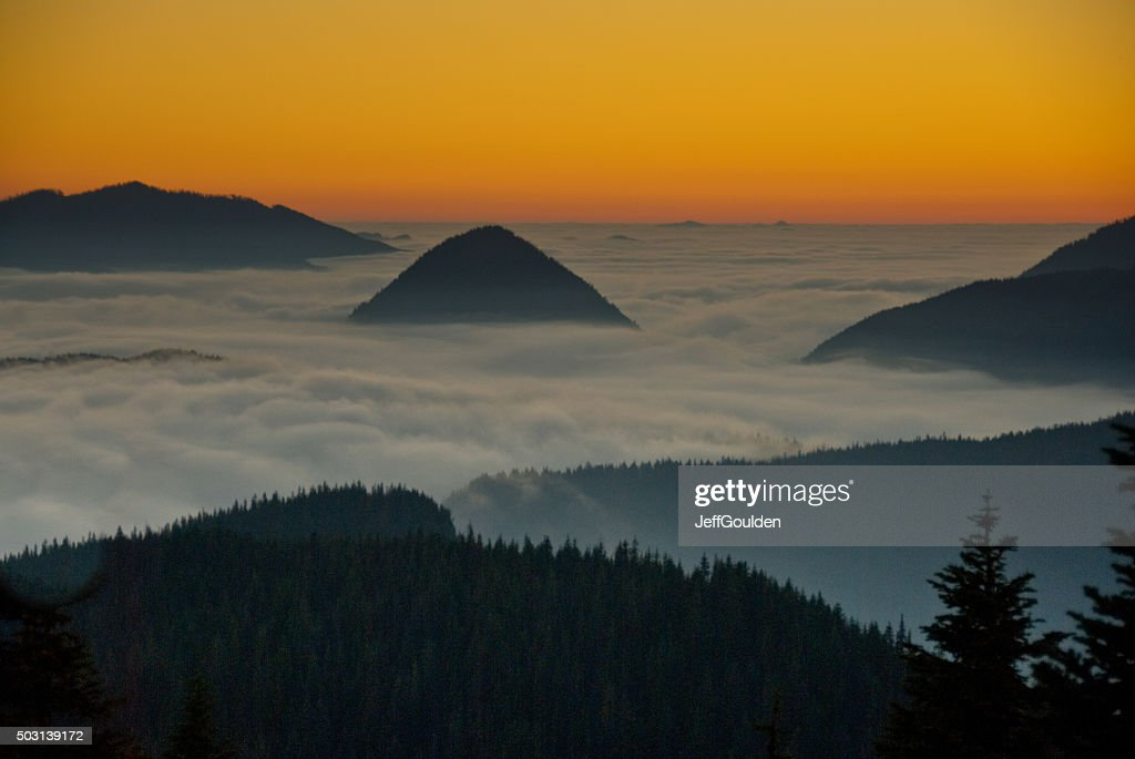 Peaks Above the Fog at Sunset : Stock Photo