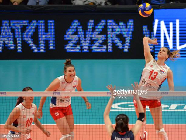 in Serbia in action during FIVB Volleyball Nations League match between Korea and Serbia at the Stadium of the Technological University of the...