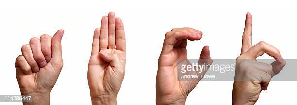 abcd in sign language - signing stock pictures, royalty-free photos & images