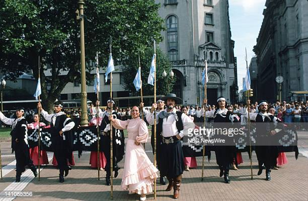 TODAY 'TODAY in South America 1986' Pictured Argentinian folk dancers in the Plaza de Mayo in Buenos Aires Argentina from February 1314 1986 Photo by...