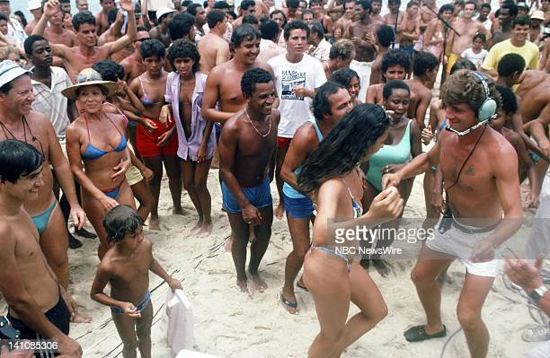 TODAY TODAY in South America 1986 Pictured NBC News crewman dances with locals on Copacabana beach in Rio de Janeiro Brazil from February 1012 1986...