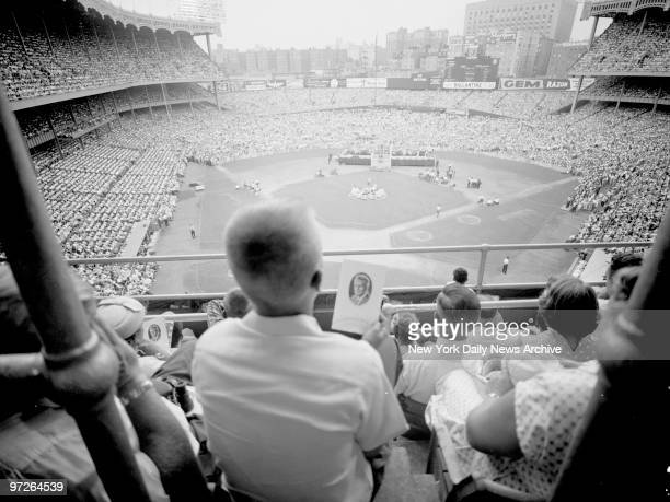 In spite of the 90degreeplus heat 100000 persons packed Yankee Stadium to hear the Rev Dr Billy Graham warn that America is facing its gravest crisis...