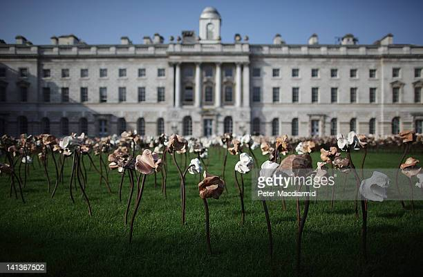 In spring sunsunshine the 'Out of Sync' art installation is unveiled on a grass meadow at Somerset House on March 15 2012 in London England Chilean...