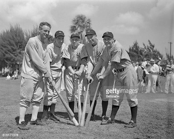 In spring training camp here are pictured the five leading home run hitters of the New York Yankee baseball team Left to right Lou Gehrig Joe...