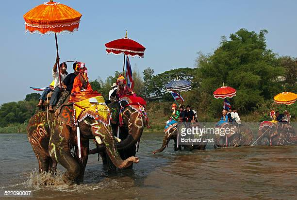 In Sri Satchanalai, near Sukhothai, the novices used to parade on top of elephants during the ordination ceremony.