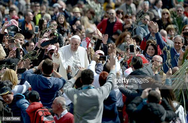 In St Peter's Square in front of thousands of people Pope Francis began the holy week before Easter In the Palm Sunday Pope Francis blessed the palms...