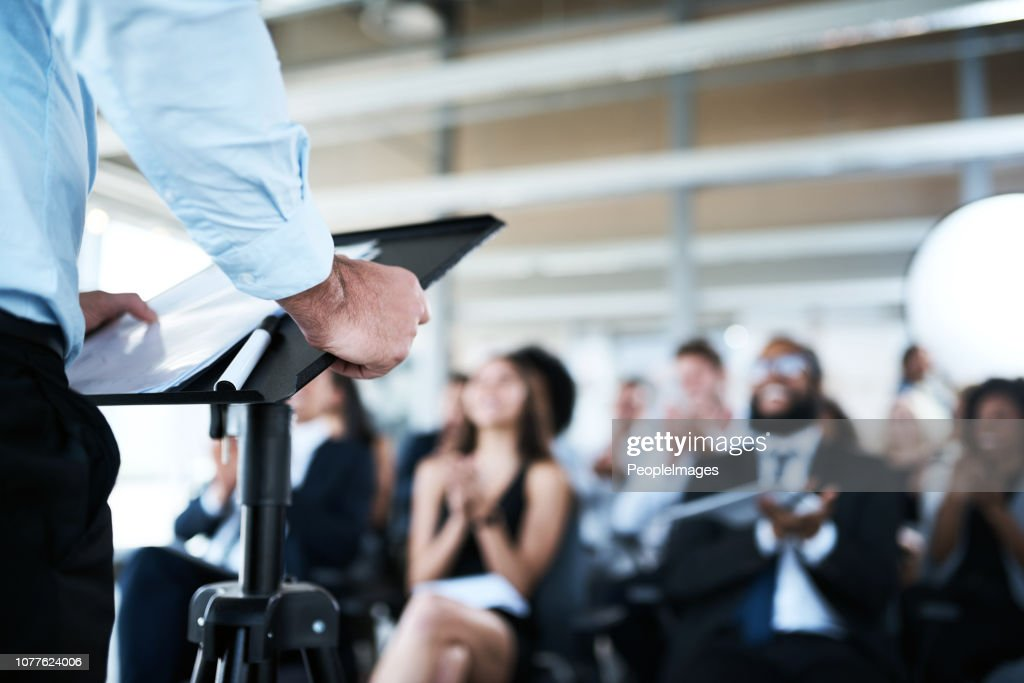 In talks about achieving their next great success : Stock Photo
