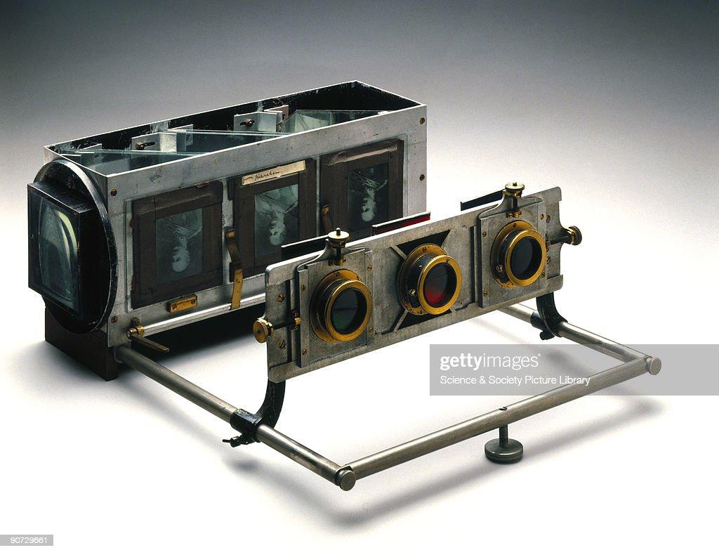 Three-colour projection apparatus, c 1900. : News Photo