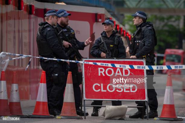 In the aftermath of the London Bridge and Borough Market terrorist attack the previous night armed police are positioned at closed road junctions a...