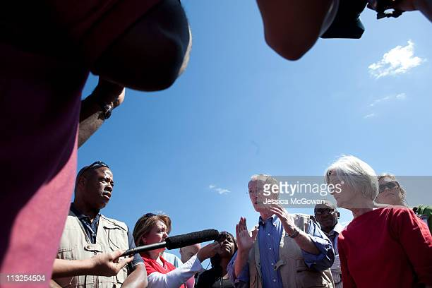 In the aftermath of Wednesday night's storms Alabama Gov Robert Bentley and his wife Dianne take questions from the media on April 28 2011 in...