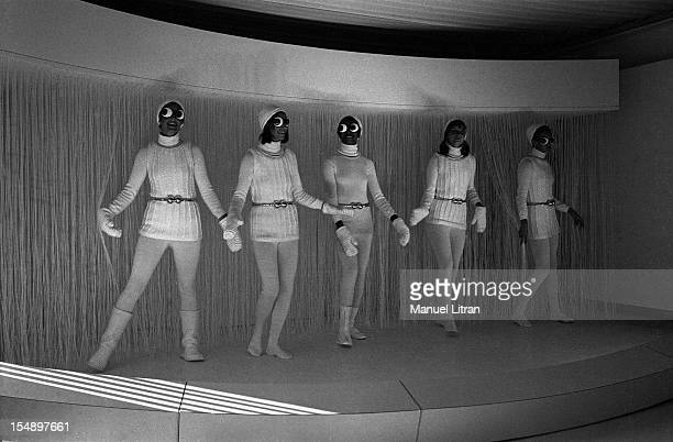 In the Andre Courreges fashion fairs rue Francois ler in Paris models repeat the choreography for the presentation of the winter collection 1969 1970
