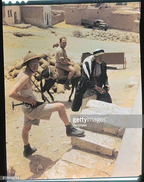 In the Arab village of Kakoun Jewish soldier guards an old Arab