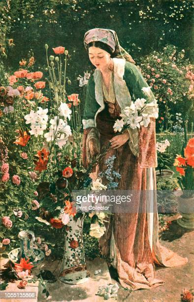 In the Bey's Garden' After a painting in the Harris Museum Art Gallery Preston Woman collecting flowers in the garden of an Ottoman ruler From The...