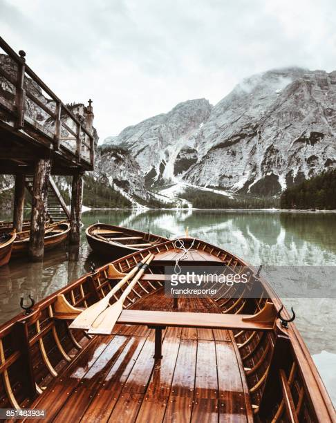 in the boat at braies lake - italy