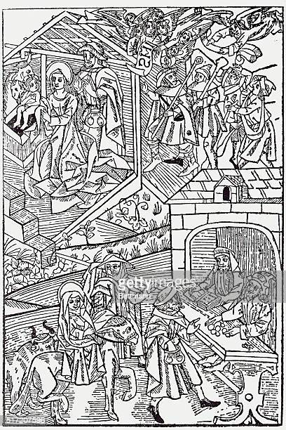 In the bottom half of this woodcut split illustration, the Virgin Mary and her husband, Joseph, try to check into a hotel at Bethlehem. In the top...