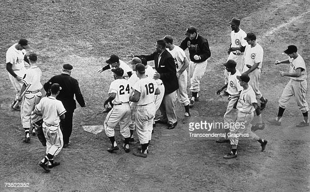 MILWAUKEE JULY 12 1955 In the bottom of the 12th inning in the annual baseball All Star Game played in Milwaukee's County Stadium on July 12 Stan...
