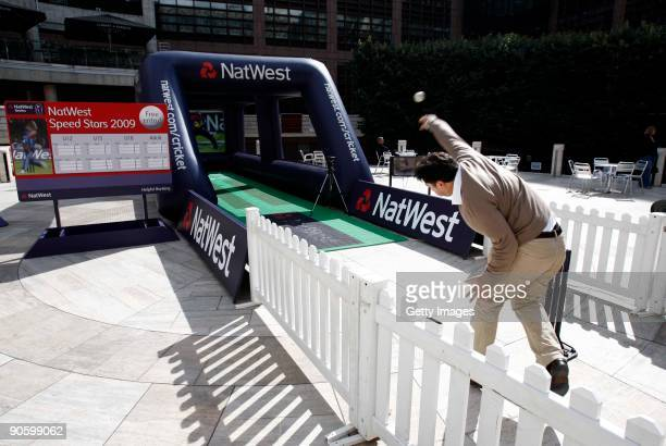 In the Broadgate Arena, a member of the public attempts to hit the stumps to win a pair of tickets to the Natwest Series match against Australia...
