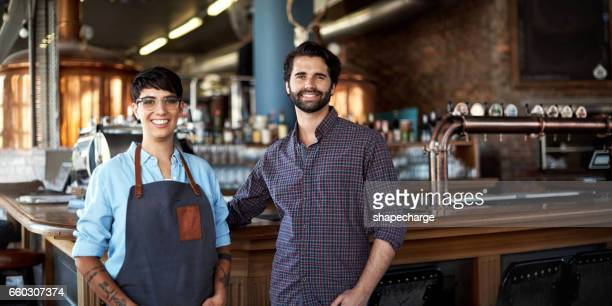 in the business of beer awesomeness - restaurant manager stock pictures, royalty-free photos & images