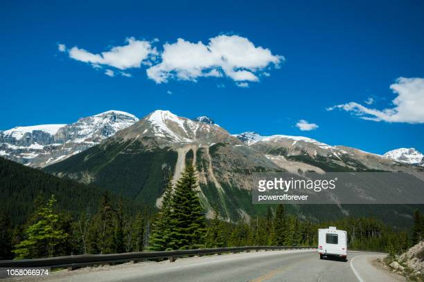 rv in the canadian rocky mountains of banff national park, alberta, canada - national landmark stock pictures, royalty-free photos & images