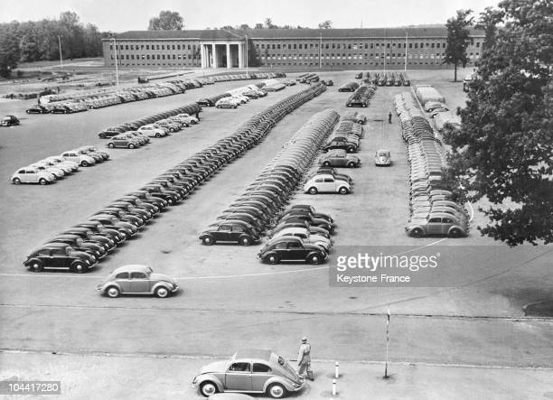 BEETLES in the car park of VOLKSWAGENWERK factory in Wolfsburg where they are produced in two minutes and a half in the 1950s or 1960s