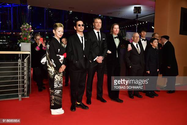 In the center the team of the opening movie Isle of Dogs among them US actor Liev Schreiber US actress Greta Gerwig US director Wes Anderson British...