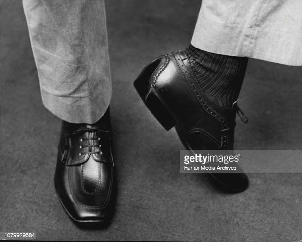 In the centre another autoheel with elaborate Italian stitching selling for 99/6 sterling July 15 1955