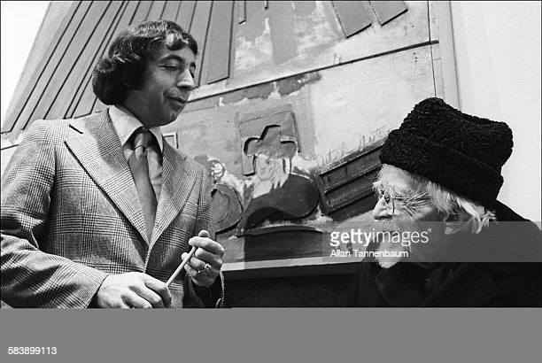 In the Chelsea Hotel lobby manager Stanley Bard poses 100 plus yearold artist and resident AP Cole New York New York January 11 1975