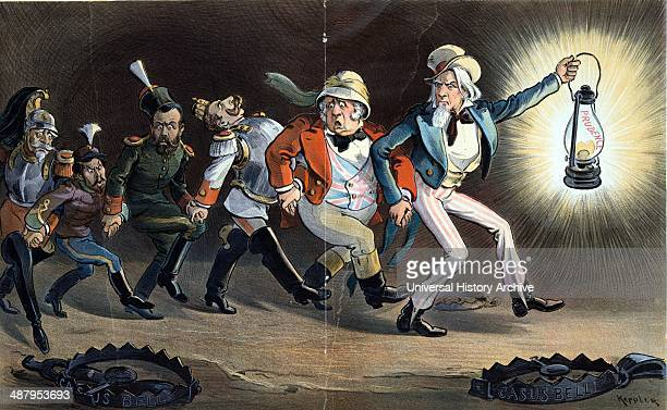 In the Chinese labyrinth by Udo Keppler 18721956 artist 1901 Illustration shows Uncle Sam holding a lantern labelled 'Prudence' in one hand and onto...