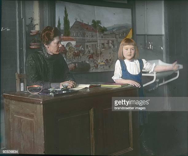 In the classroom Austria Handcolored lantern slide Around 1910