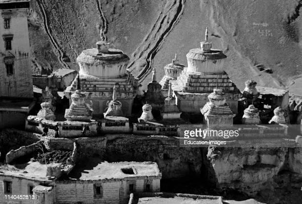 CHORTENS in the courtyard of LAMAYURU GOMPA monastery LADAKH INDIA
