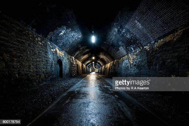 In the dark damp tunnel, Monsal trail, Peak District