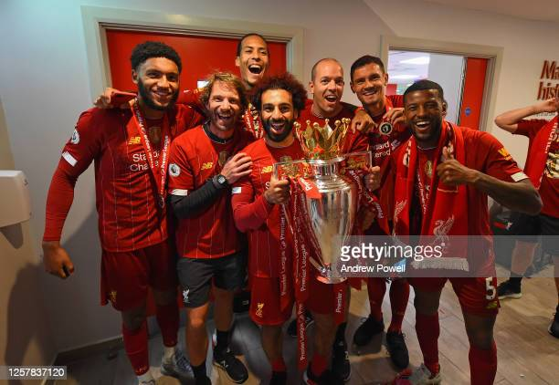 In the dressing room after winning the Premier league at the end of the Premier League match between Liverpool FC and Chelsea FC at Anfield on July...