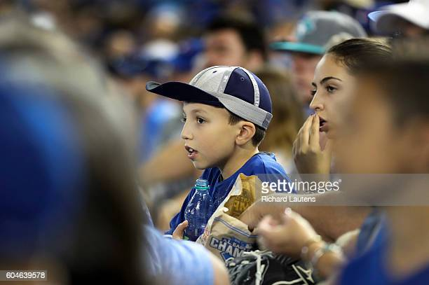 TORONTO ON SEPTEMBER 13 In the dying moments of the game one young spectator has on his rally cap to no avail The Toronto Blue Jays lost to division...