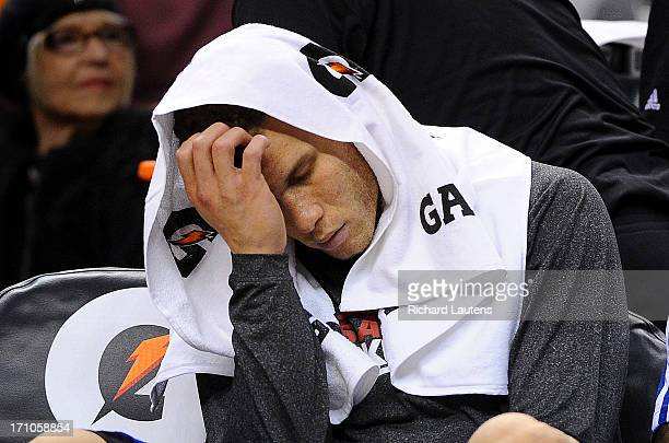 In the dying seconds of the game, Los Angeles Clippers power forward Blake Griffin sits dejected on the bench. The Toronto Raptors beat the Los...