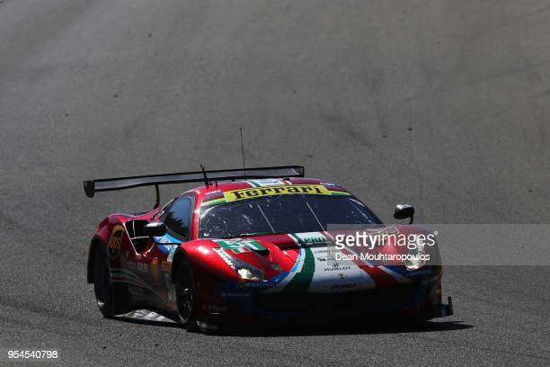 CORSE in the Ferrari 488 GTE EVO driven by Alessandro Pier Guidi of Italy James Calado of Great Britain competes during Final Free Practice session...