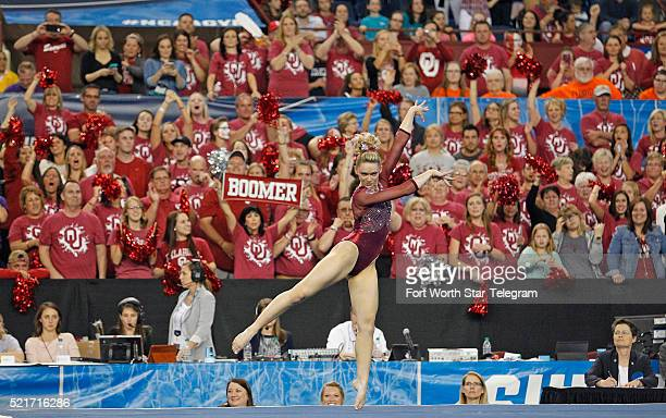 In the final floor routine of the night Oklahoma edged LSU for the win with Haley Scaman dancing the final performance with screaming Boomer Sooner...
