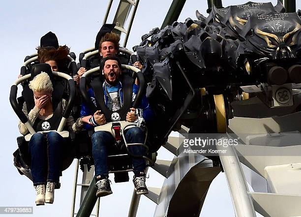 In the first row Melanie Mueller Manuel Cortez Lucia Effenberg and Lukas Sauer are pictured during the opening of the new wing coaster 'Flug der...
