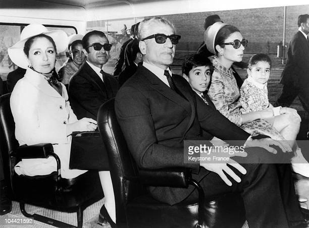 In The First Row The Shah Of Iran The Empress Of Iran Farah Diba And Their Children Prince Reza And Princess Farahnaz During The Inauguration Of The...