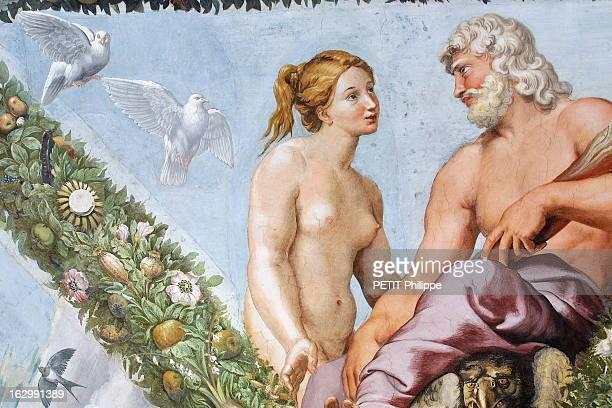 In The Footsteps Of Raphael In Rome Détail des fresques de RAPHAEL décorant la loggia de Psyché dans la Villa Farnésine à ROME 'VENUS ET JUPITER'