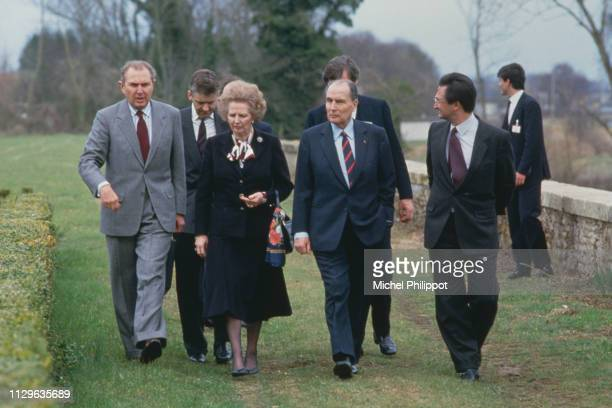 Michel d'Ornano then president of the general council Margaret Thatcher François Mitterrand Jacques Attali special adviser to the President of the...