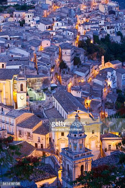 In the foreground the bell tower and facade of Chiesa del Purgatorio in Ragusa Ibla