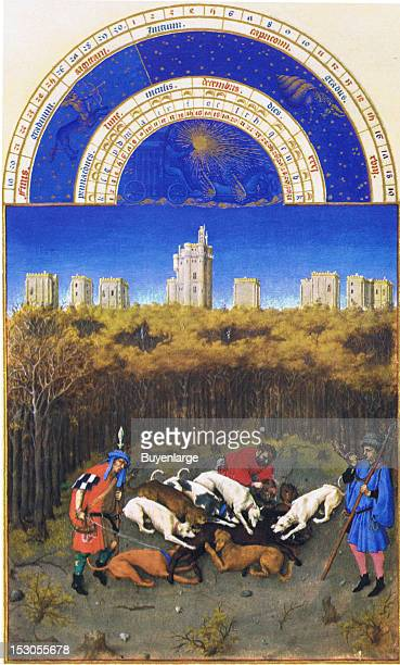 In the forest of Vincennes fabled for its game a wildboar hunt has caught a boar which is being torn apart by the boarhounds In the background is the...