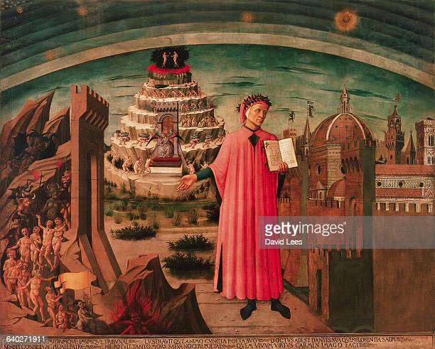 In the forground stands Dante holding his work 'the Divine Comedy' To one side Florence is depicted and on the other is a vision of hell Behind Dante...