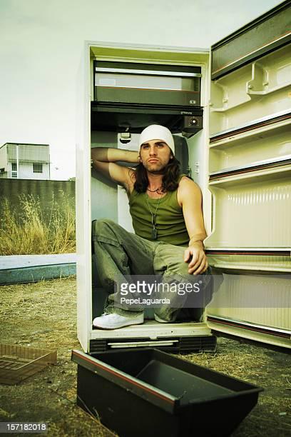 dans le réfrigérateur - frigo humour photos et images de collection