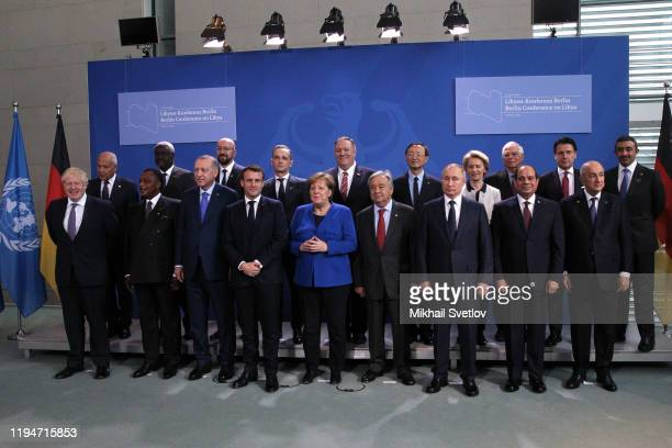 In the front row: British Prime Minister Boris Johnson, President of the Republic of Congo Denis Sassou Hguesso, Turkish President Recep Tayyip...