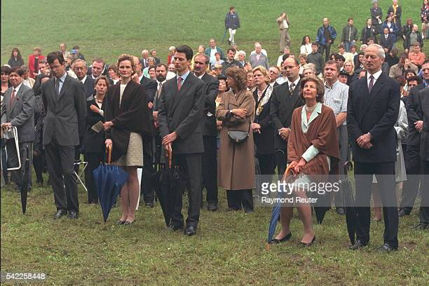 In the front row, Sophie of Bavaria & Alois of Liechtenstein &, right, Marie-Aglae & Hans Adam.