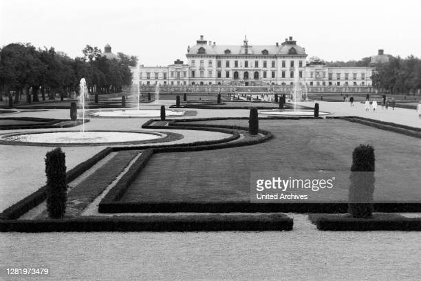 In the garden of Drottningholm Castle on Lovoen Island, view of the castle, 1969.