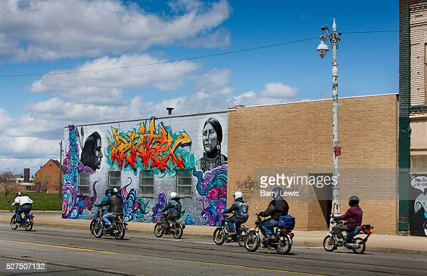 In the Grand River Creative Corridor in Detroit where artists have been invited to claim large canvases and the streetscape is very colorful Known as...
