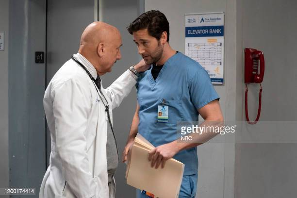NEW AMSTERDAM In The Graveyard Episode 213 Pictured Anupam Kher as Dr Vijay Kapoor Ryan Eggold as Dr Max Goodwin